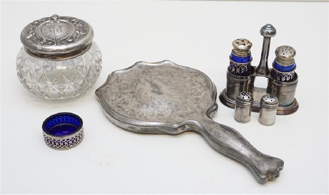 6 Pc SILVERPLATE & STERLING DRESSER JAR - SALTS