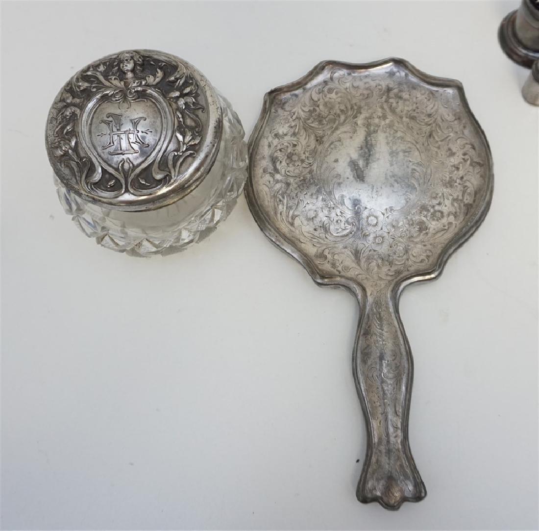6 Pc SILVERPLATE & STERLING DRESSER JAR - SALTS - 2