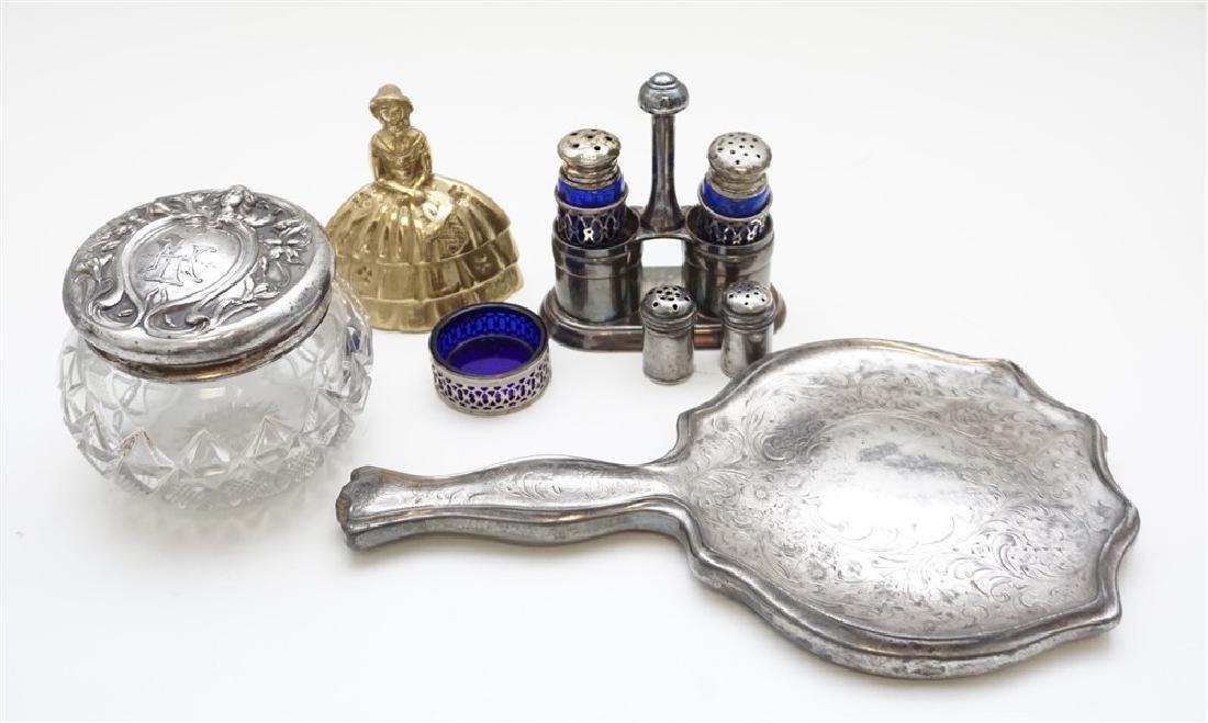 6 Pc SILVERPLATE & STERLING DRESSER JAR - SALTS - 9