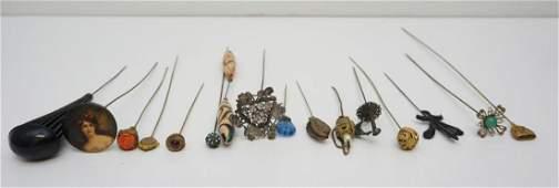 16 ANTIQUE HAT PINS - ART NOUVEAU - VICTORIAN