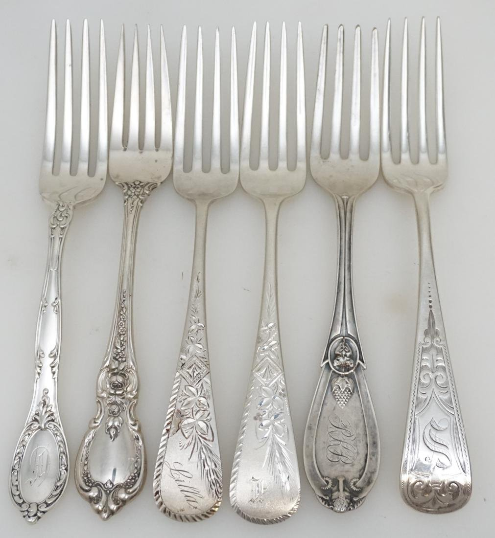 6 ANTIQUE STERLING SILVER DINNER FORKS