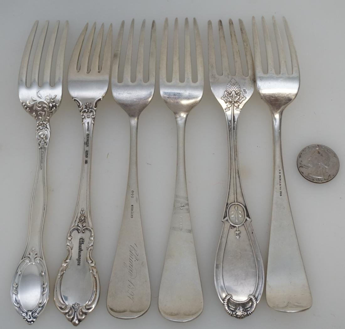 6 ANTIQUE STERLING SILVER DINNER FORKS - 4