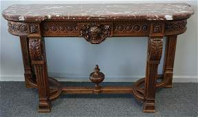 FRENCH CARVED MARBLE TOP CONSOLE