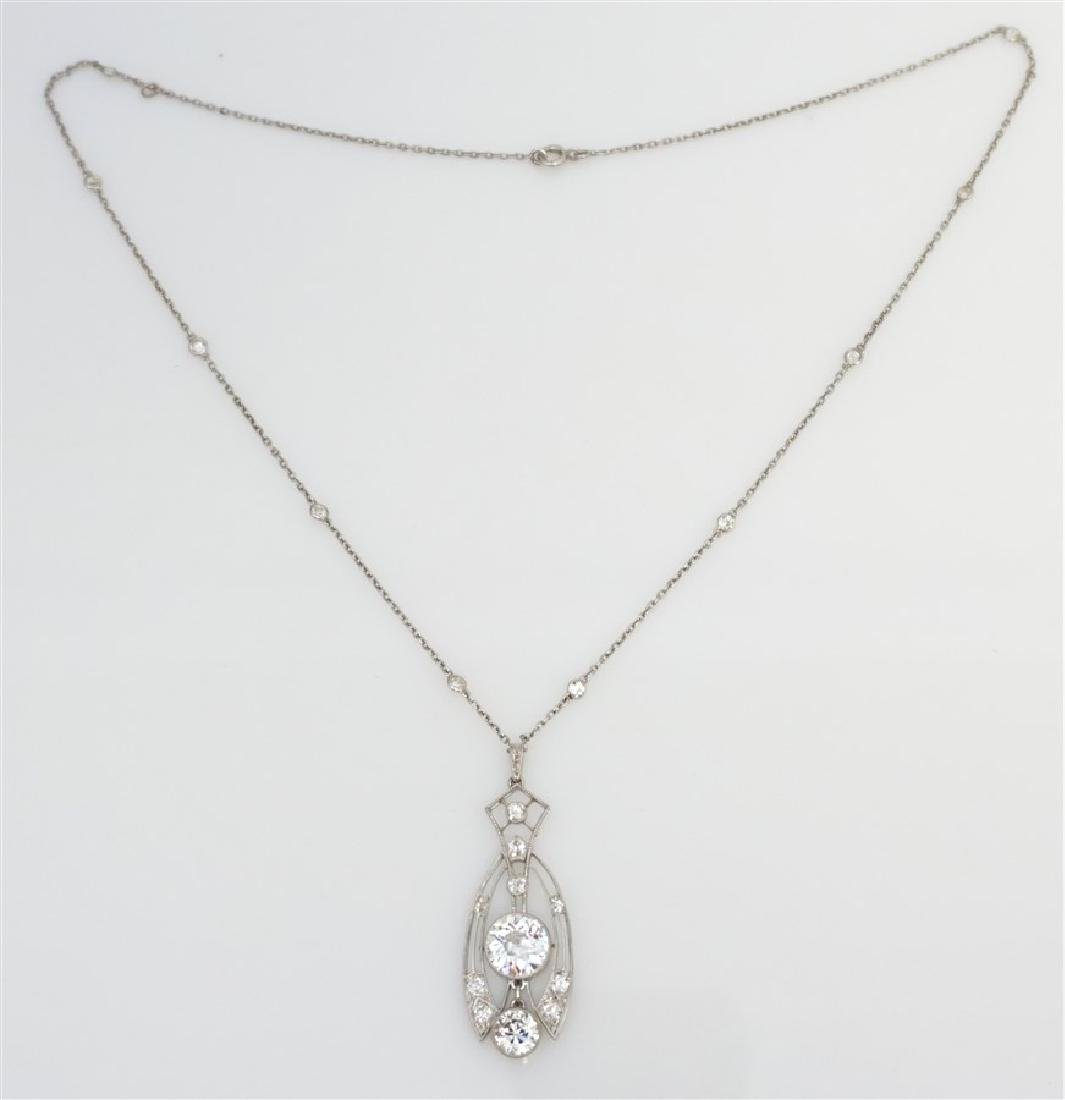 LARGE DIAMOND NECKLACE 2.60 CENTER - 2