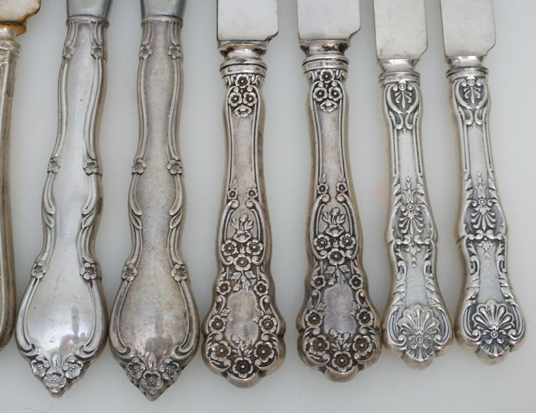 12 VARIOUS STERLING HANDLE DINNER KNIVES - 3