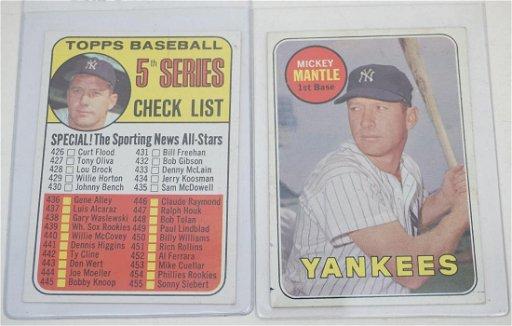 2 Mickey Mantle 1969 Topps Ny Yankees