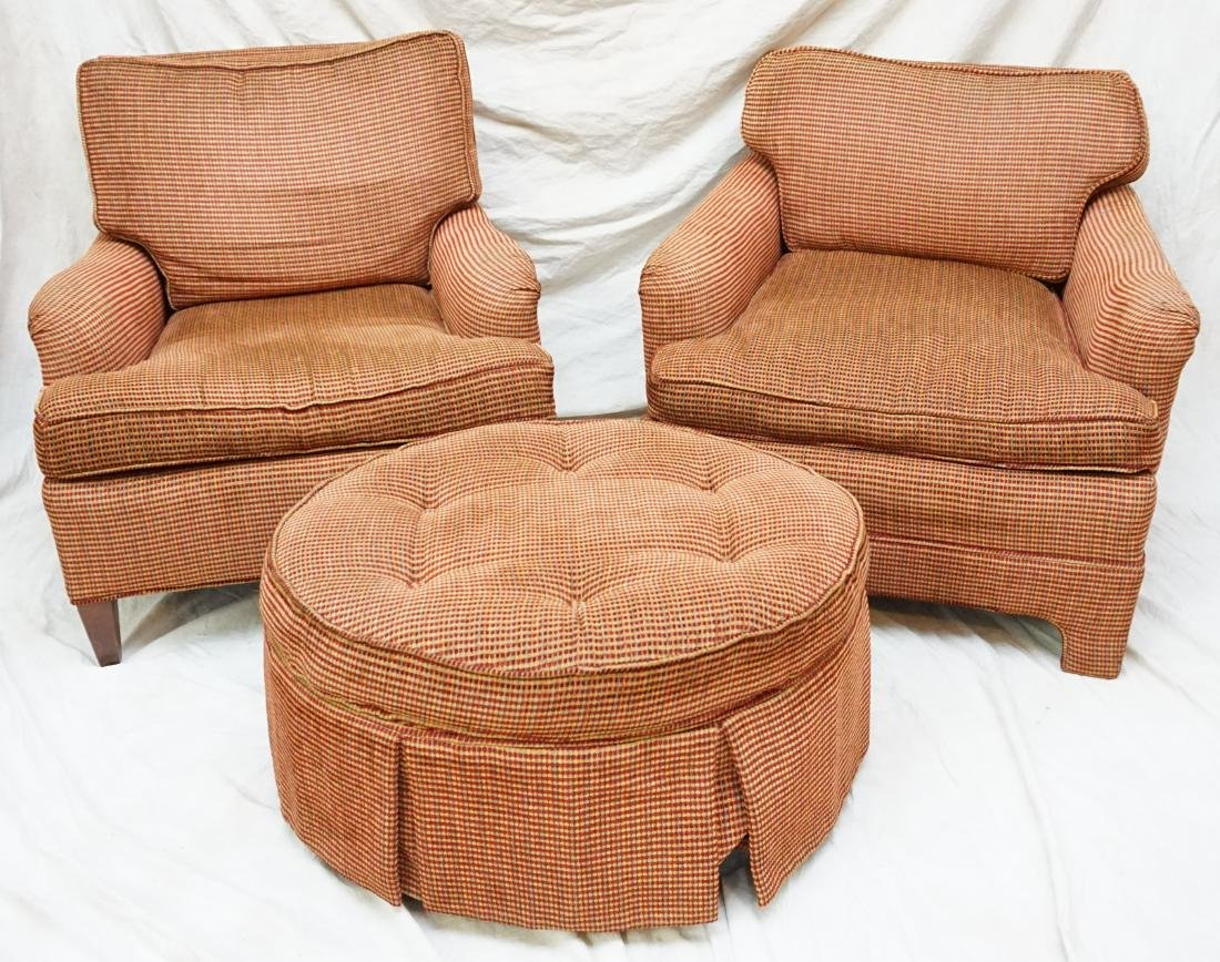 2 UPHOLSTERED CHAIRS WITH OTTOMAN