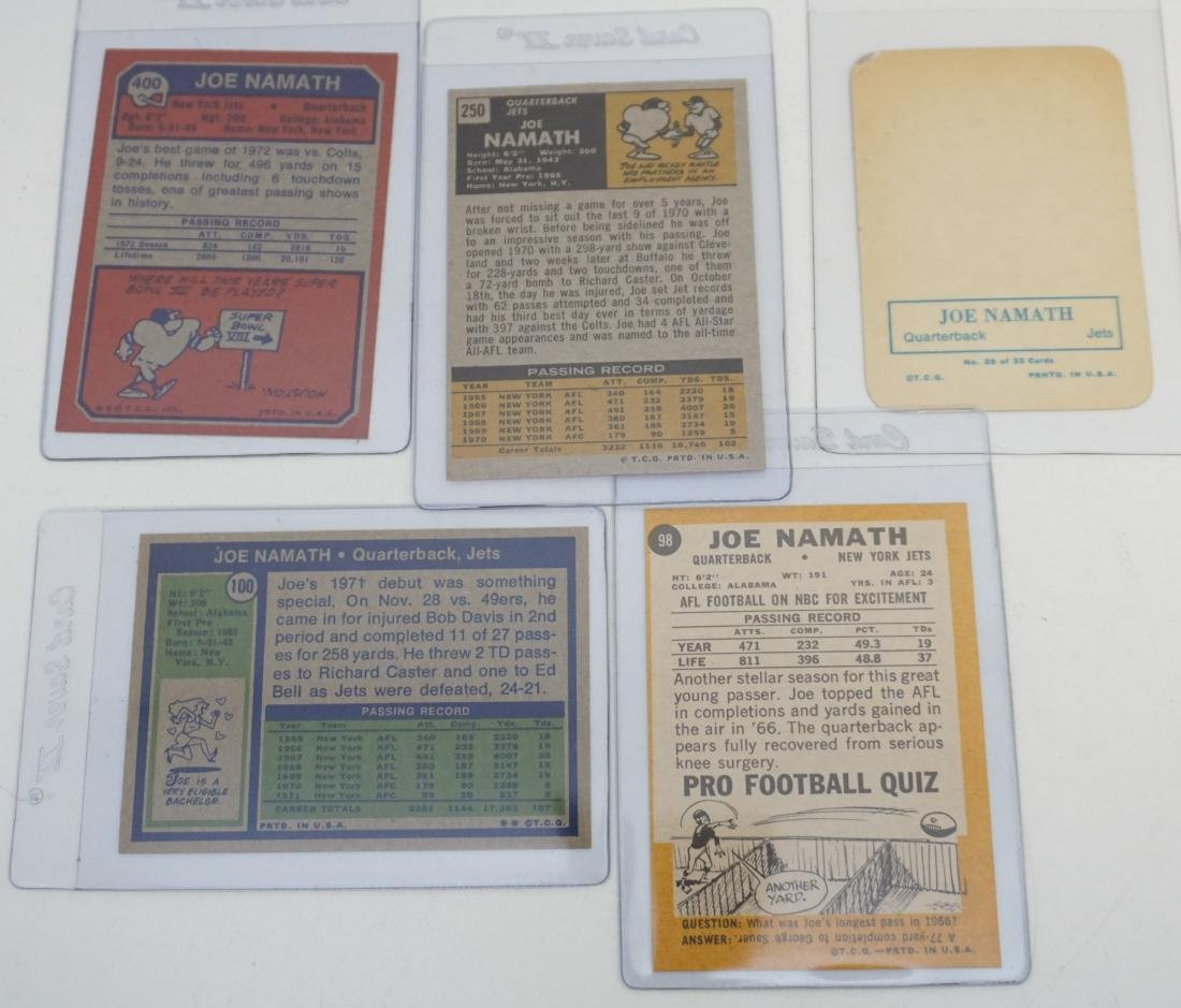 5 JOE NAMATH TOPPS CARDS - 5