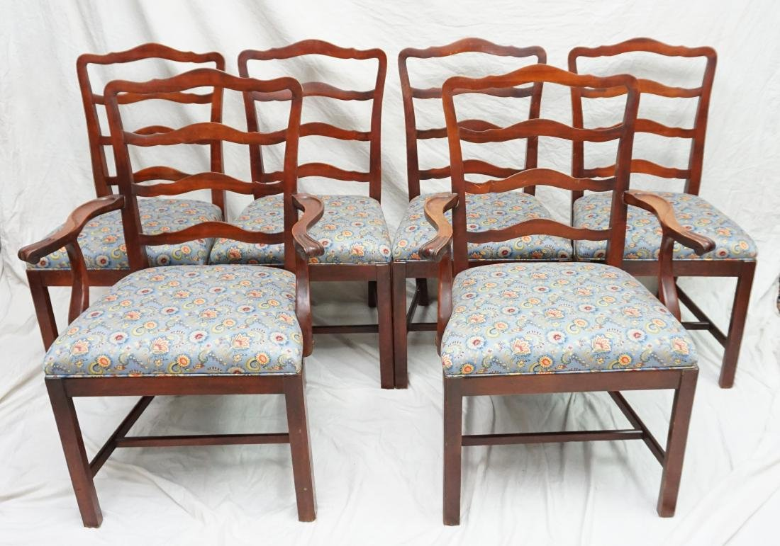 6 CHIPPENDALE STYLE LADDERBACK DINING CHAIRS