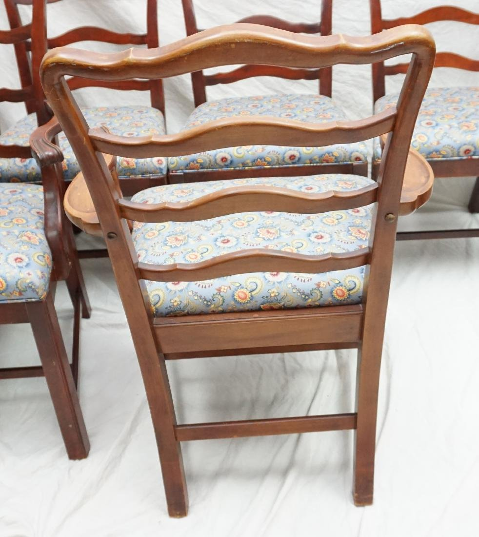 6 CHIPPENDALE STYLE LADDERBACK DINING CHAIRS - 8