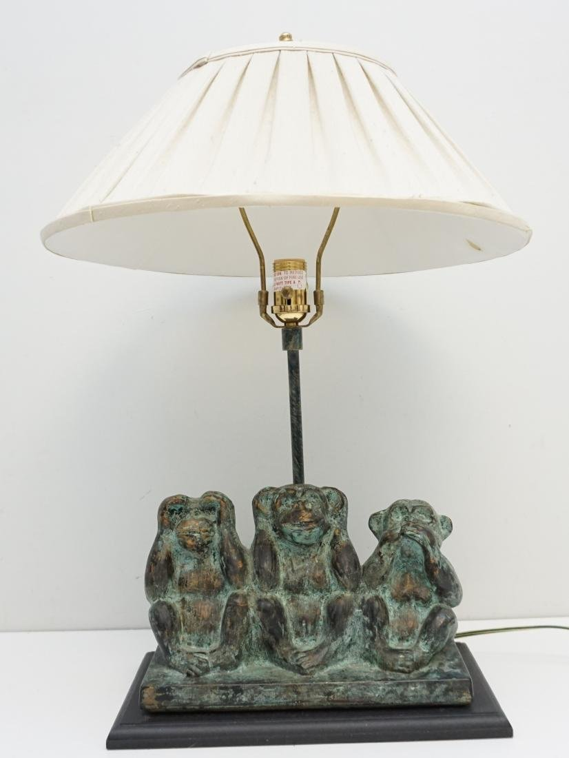 THREE WISE MONKEY TABLE LAMP