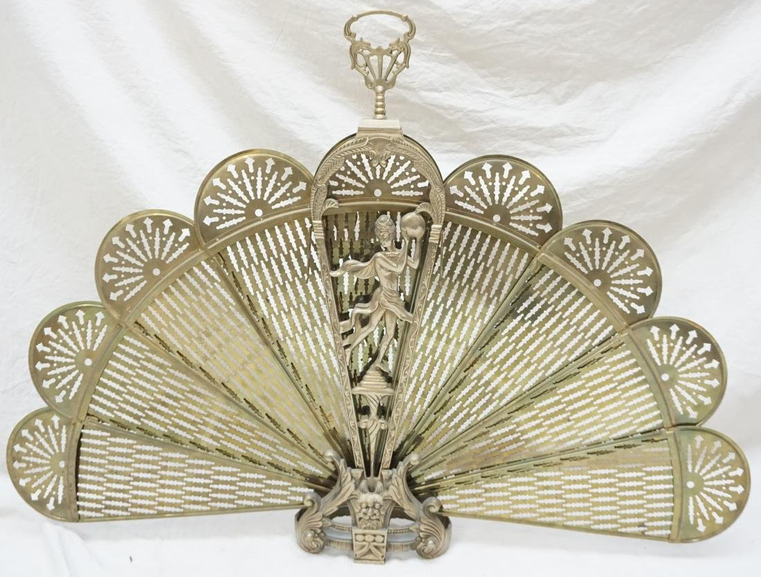 ORNATE FOLDING BRASS FIRE SCREEN