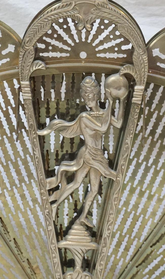 ORNATE FOLDING BRASS FIRE SCREEN - 2