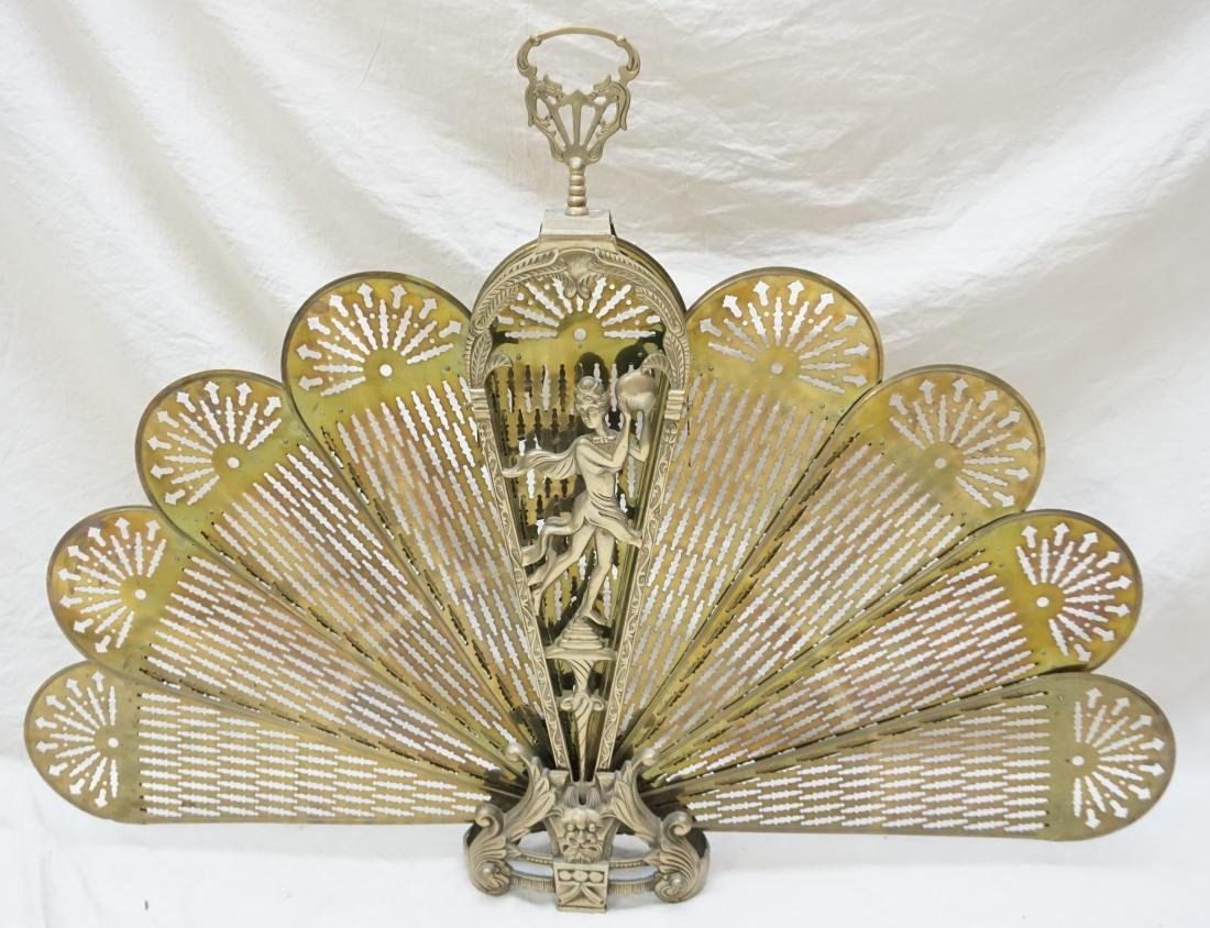 ORNATE FOLDING BRASS FIRE SCREEN - 4