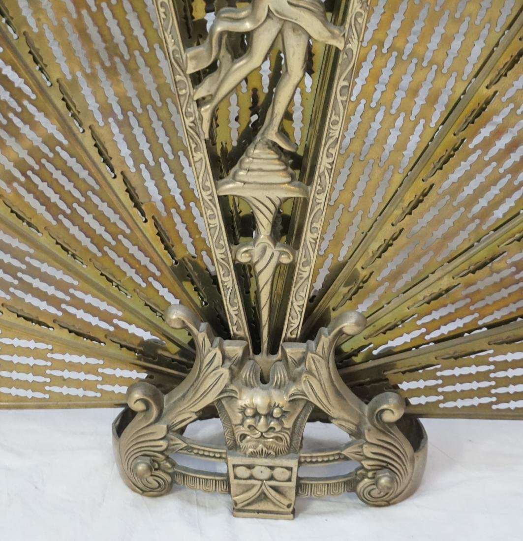 ORNATE FOLDING BRASS FIRE SCREEN - 5