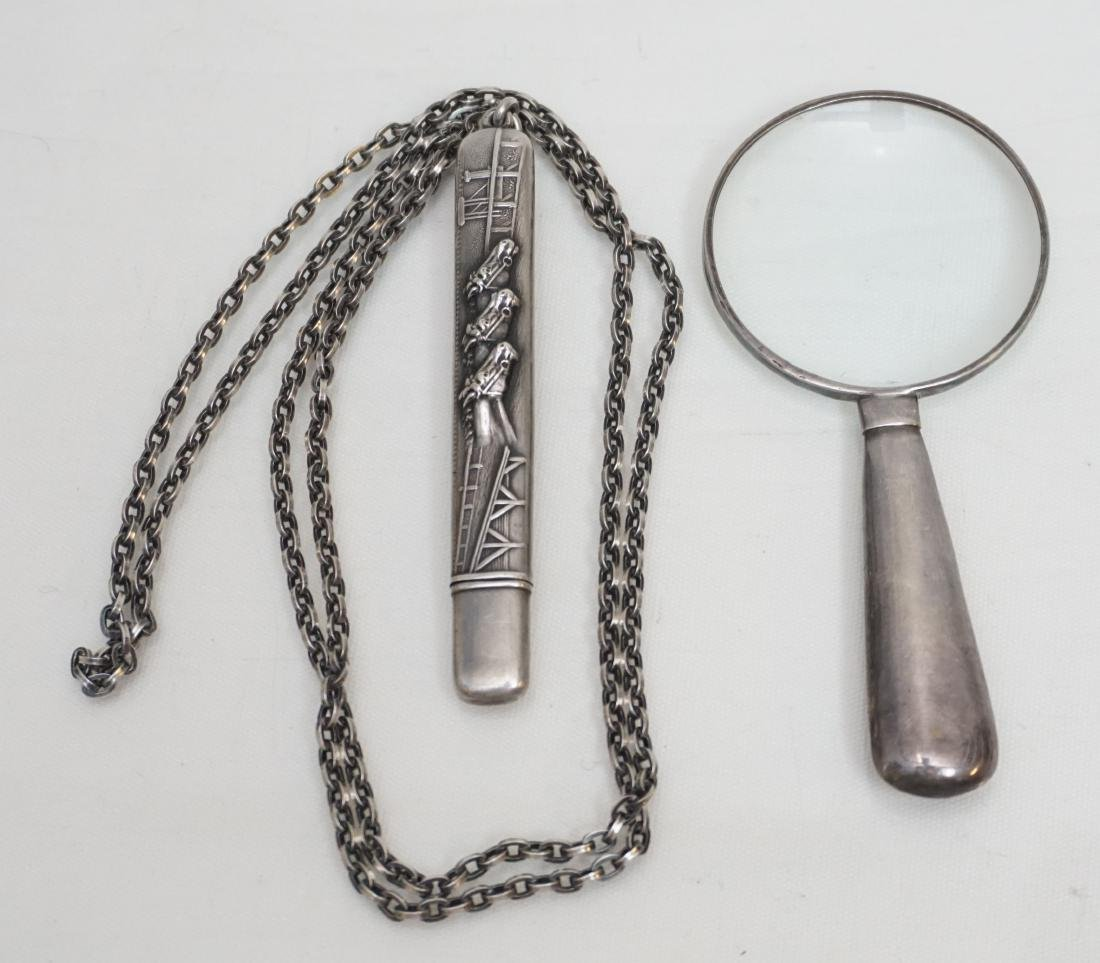 2 ANTIQUE STERLING NEEDLE CASE + MAGNIFYING GLASS