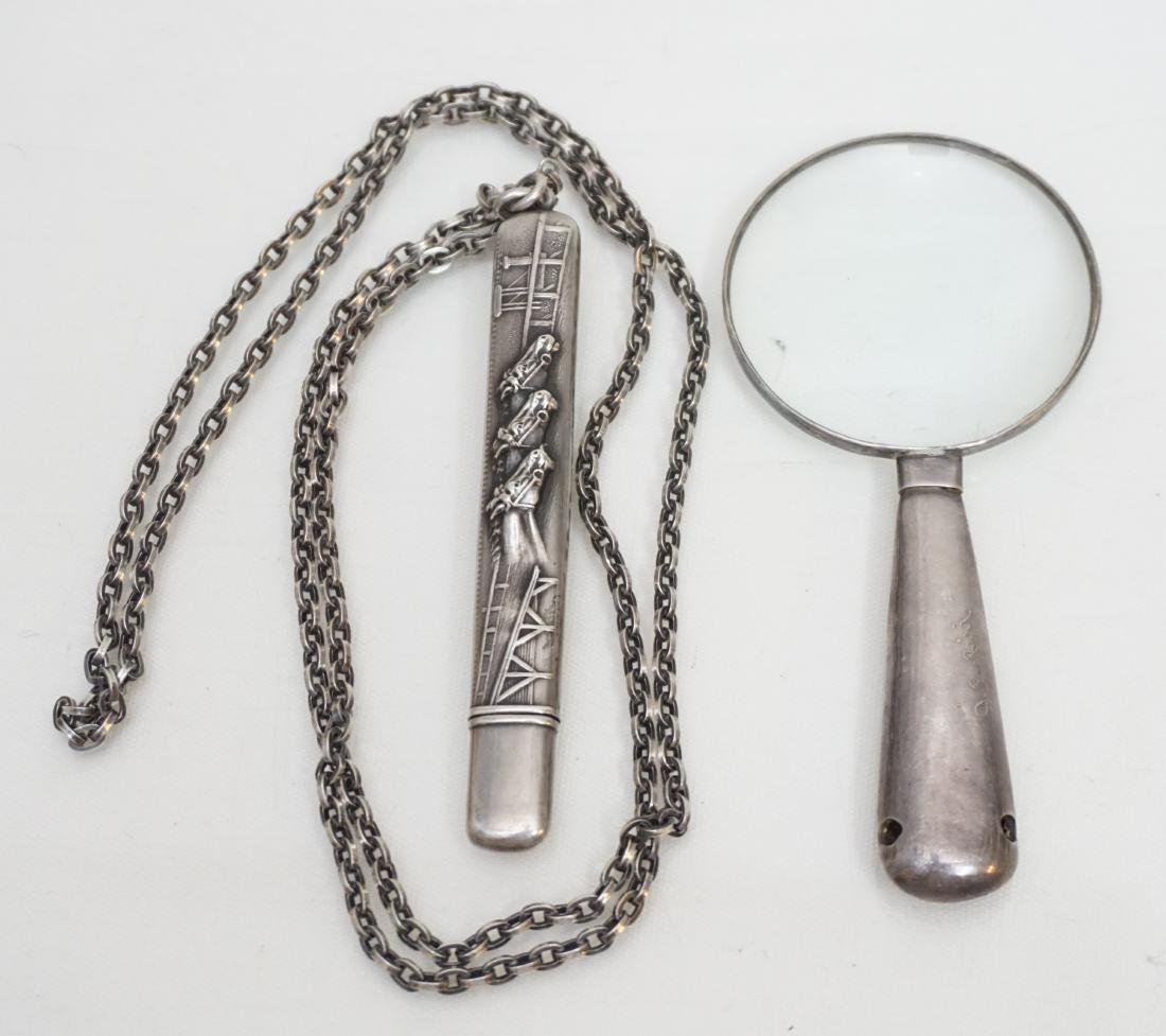 2 ANTIQUE STERLING NEEDLE CASE + MAGNIFYING GLASS - 4