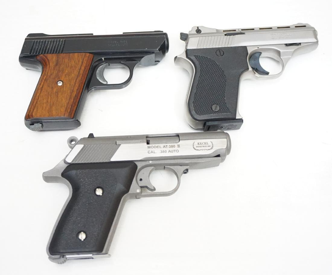 3 PISTOLS IN ORIG BOXES + 4 HOLSTERS