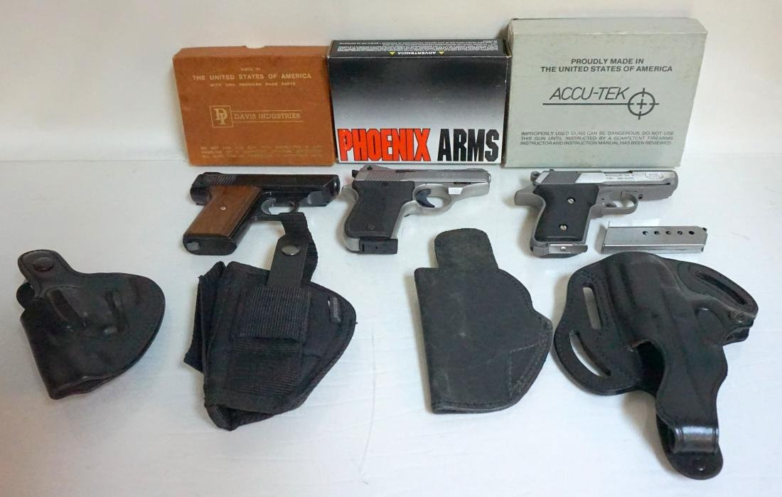 3 PISTOLS IN ORIG BOXES + 4 HOLSTERS - 2