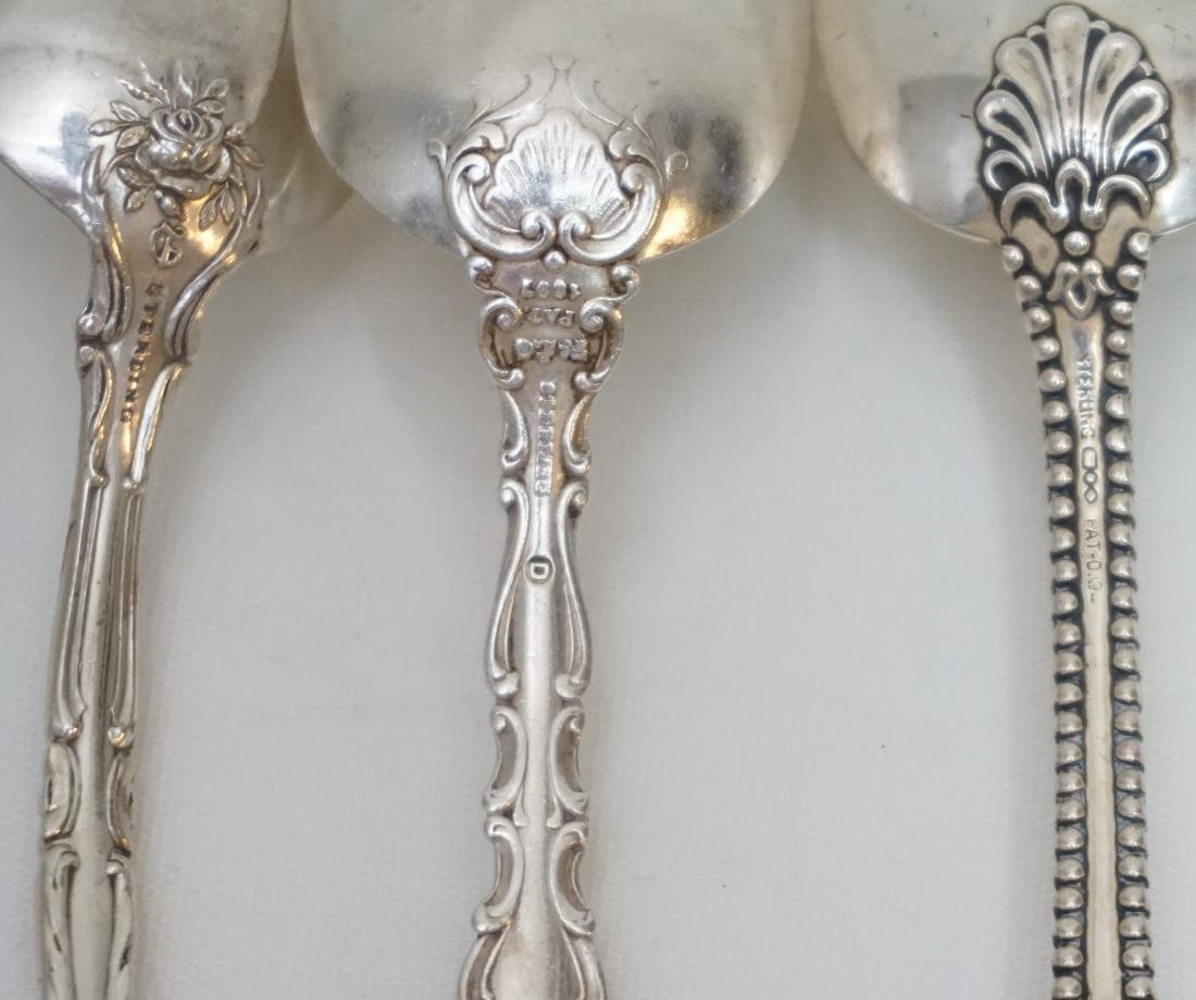 5 ANTIQUE STERLING 1 COIN SILVER SPOONS - 8