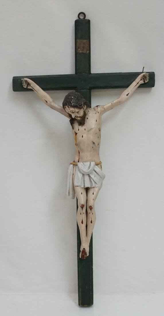 19TH C SPANISH COLONIAL CARVED CRUCIFIX