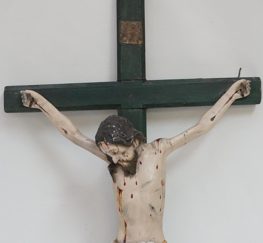 19TH C SPANISH COLONIAL CARVED CRUCIFIX - 2