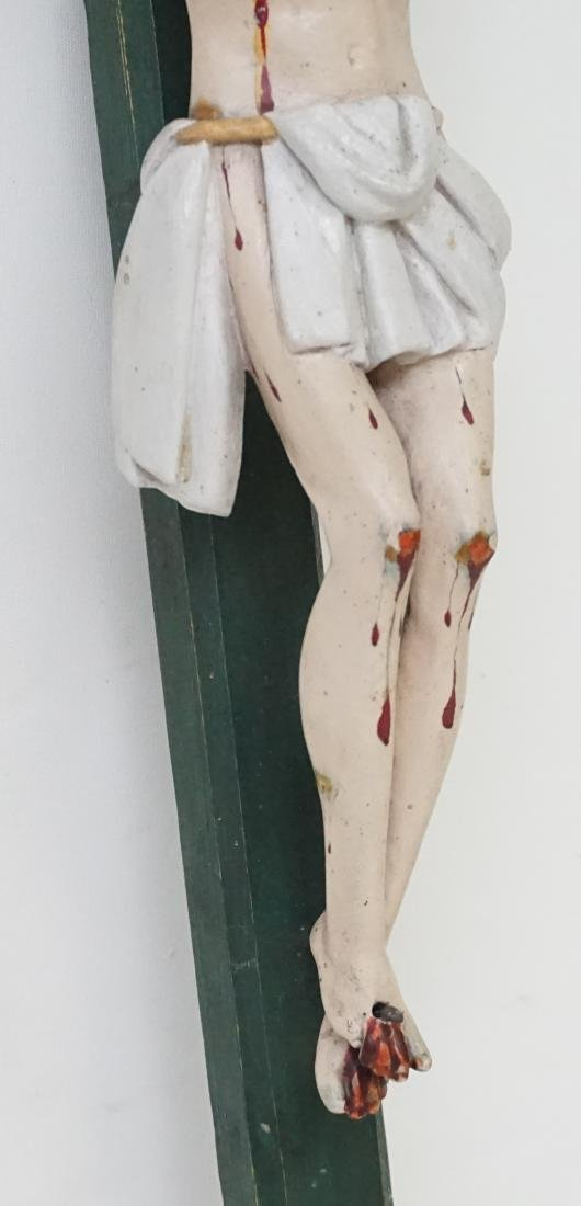 19TH C SPANISH COLONIAL CARVED CRUCIFIX - 4