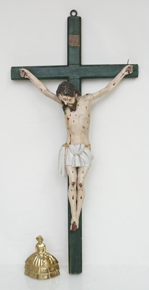 19TH C SPANISH COLONIAL CARVED CRUCIFIX - 6