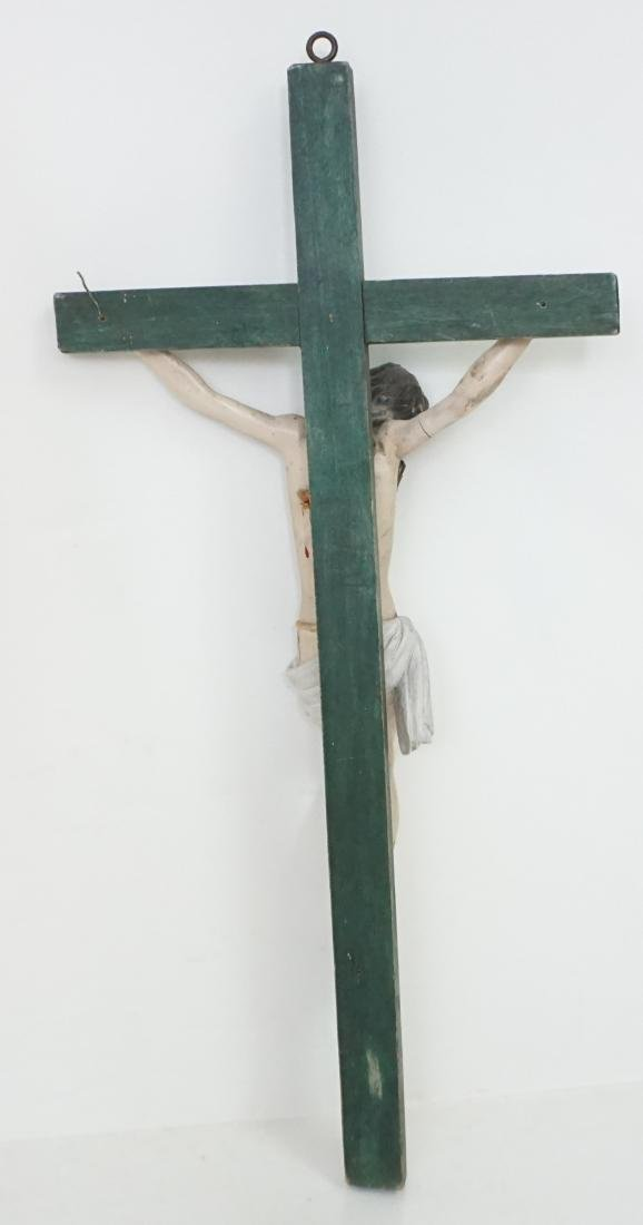 19TH C SPANISH COLONIAL CARVED CRUCIFIX - 7