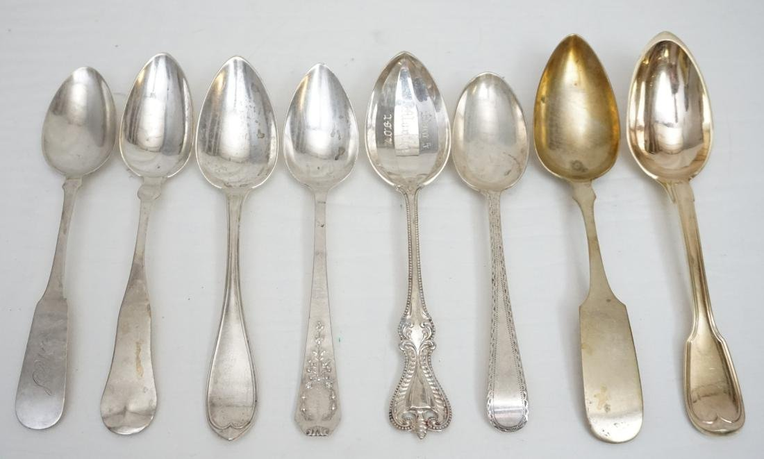 8 ANTIQUE STERLING & COIN SILVER SPOONS