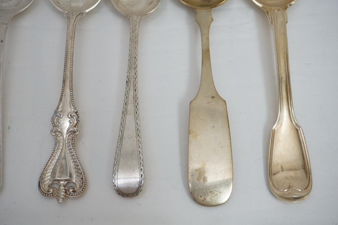 8 ANTIQUE STERLING & COIN SILVER SPOONS - 3