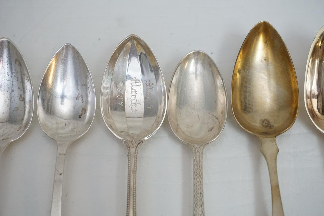 8 ANTIQUE STERLING & COIN SILVER SPOONS - 4
