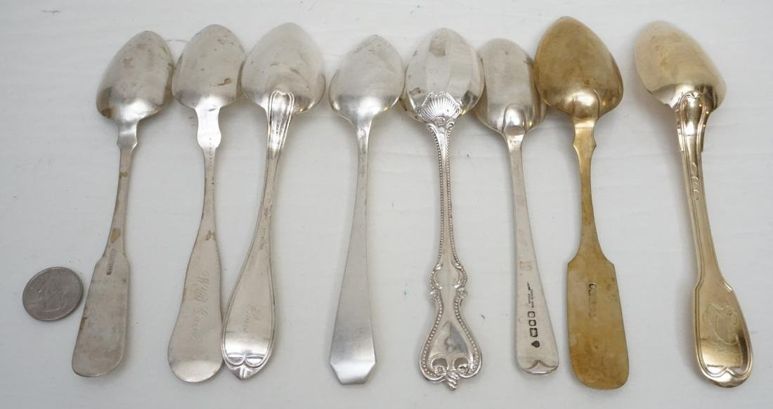 8 ANTIQUE STERLING & COIN SILVER SPOONS - 5