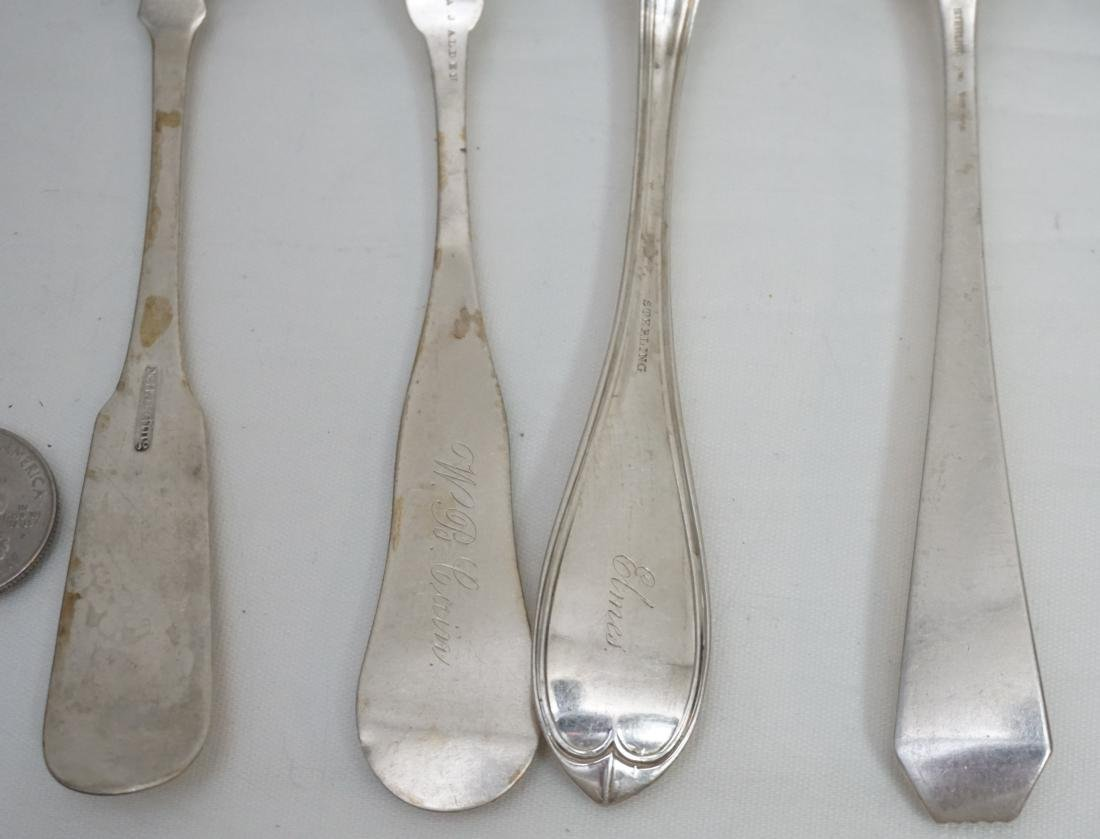 8 ANTIQUE STERLING & COIN SILVER SPOONS - 7