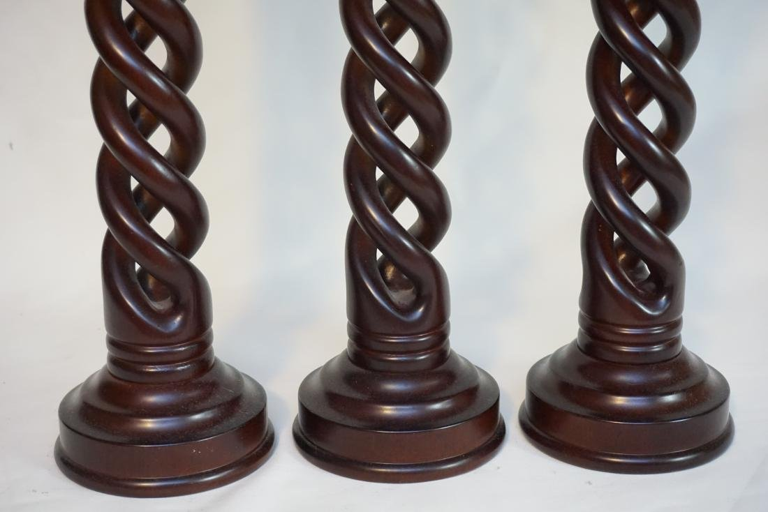 3 MAHOGANY TWISTED CANDLE STANDS - 4