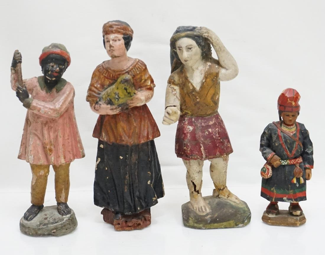 4 ANTIQUE CARVED WOOD & GESSO FIGURES