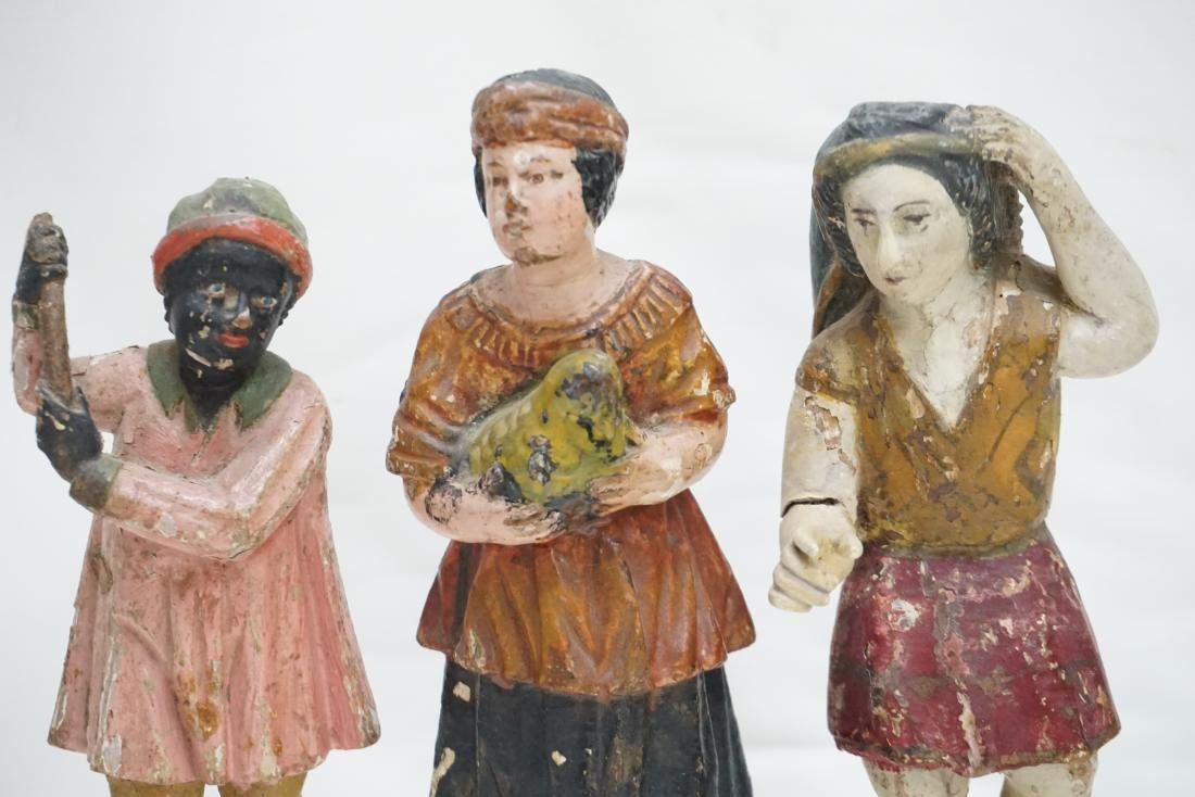 4 ANTIQUE CARVED WOOD & GESSO FIGURES - 2