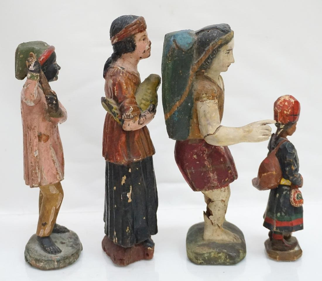 4 ANTIQUE CARVED WOOD & GESSO FIGURES - 4