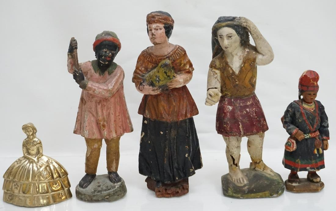 4 ANTIQUE CARVED WOOD & GESSO FIGURES - 8