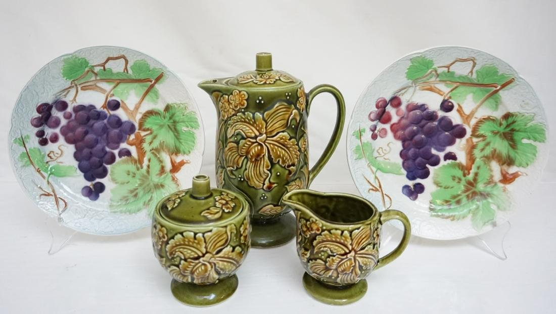 5 pc MAJOLICA COFFEE & ST CLEMENT PLATES