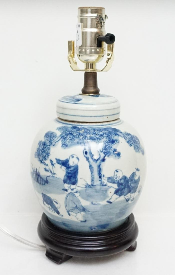 CHINESE BLUE & WHITE LAMP