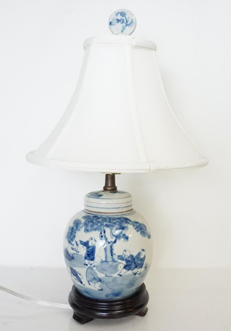 CHINESE BLUE & WHITE LAMP - 2