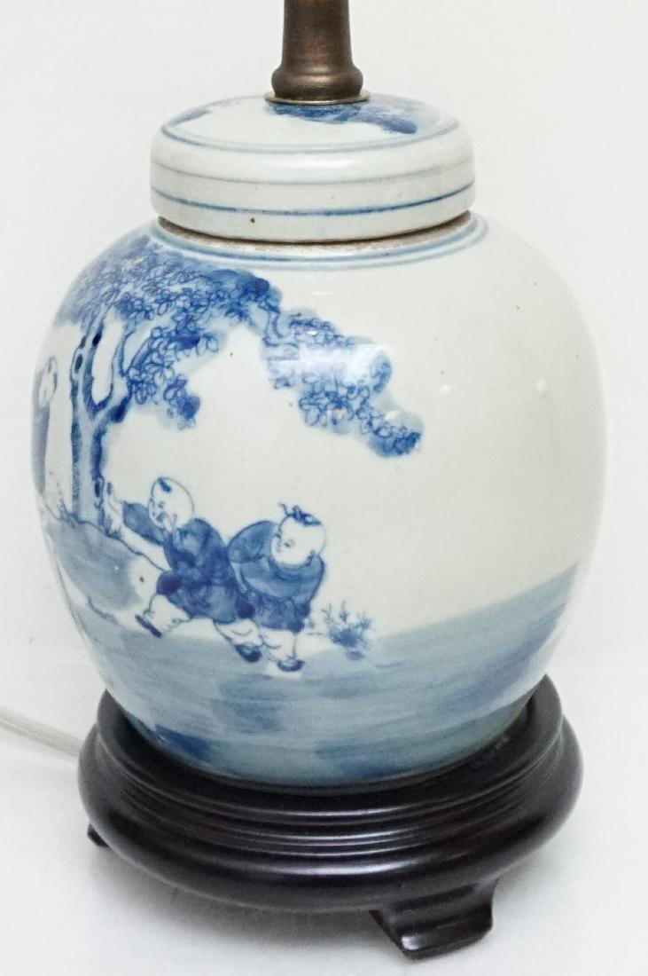CHINESE BLUE & WHITE LAMP - 3