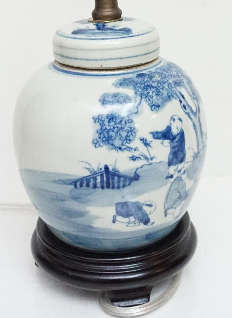 CHINESE BLUE & WHITE LAMP - 7