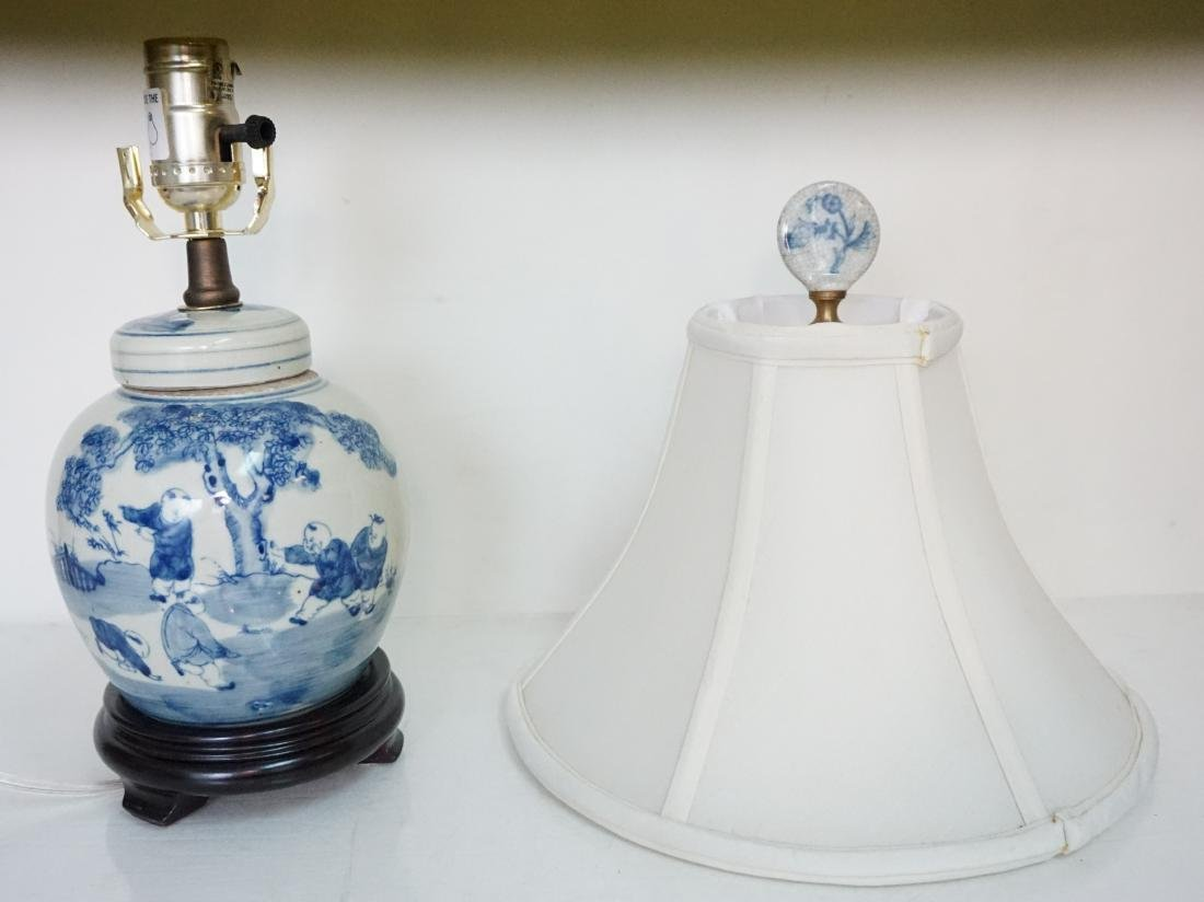 CHINESE BLUE & WHITE LAMP - 8