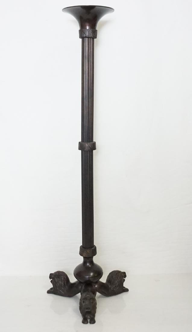 """TALL 35"""" BRONZE GOTHIC LION CANDLE STAND"""