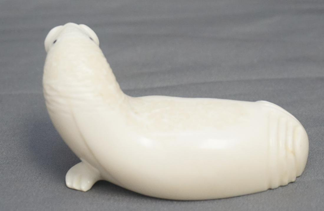 INUIT CARVED WALRUS SIGNED - WALRUS FOSSIL - 3