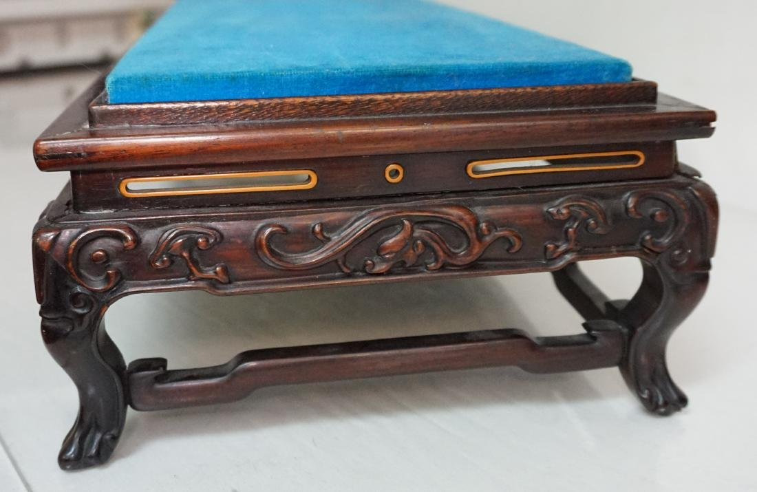 LARGE CARVED CHINESE WOOD STAND - 2