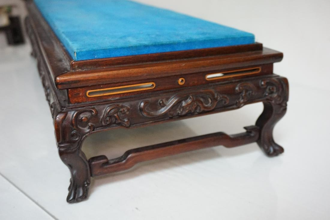 LARGE CARVED CHINESE WOOD STAND - 6