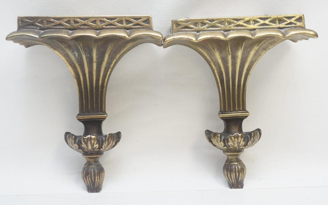 PAIR NEOCLASSICAL GILTWOOD WALL BRACKETS